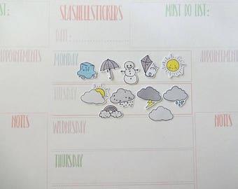 Weather Planner stickers, sun stickers, rain stickers, rainbow stickers, weather tracker stickers clouds stickers glitter planner decoration