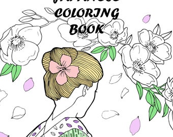 Coloring book for adults,Japanese coloring book,10 printable coloring pages,Printable coloring page,coloring pages for adults