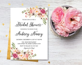Bridal Shower Invitation, Printable Bridal Shower, Boho Bridal Shower, Instant Download, Flower Bridal Shower, ABR-04