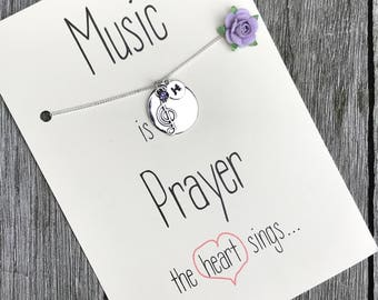 Music teacher gifts, Music note necklace, Music gift, Musician gift, Music teacher, Teacher gift, music jewelry, Gifts for teacher, A2b