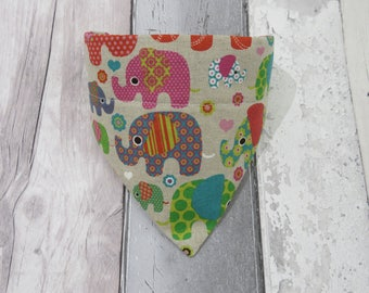 Colourful Elephants Dog Bandana, dog clothes, dog accessories, slip on bandana, pet accessories, detachable bandana, collar accessory