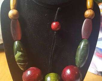 Bold Beaded Wooden Necklace