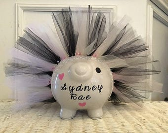 Large Tutu Personalized Piggy Bank, Personalized Bank, Custom Bank, baby Girl, First Birthday, Baby Shower Gift, Room Decor, Bow and tutu