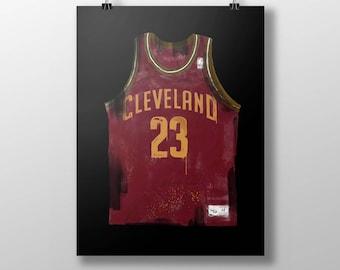 LEBRON JAMES art poster, Lebron art, basketball art, jersey art, cavaliers art, Cleveland poster, wall art, mancave art, nba art