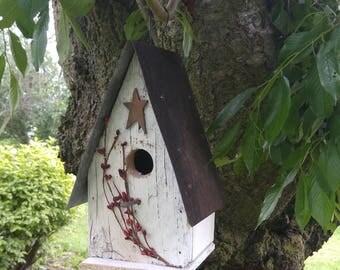 Birdhouse Star & Berries  reclaimed materials