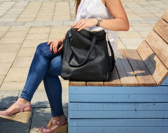Large black leather bag, Cross body laptop tote, Large zippered tote, Laptop bag, Black cross body tote, black bag, hobo bag - NAPOLI Bag