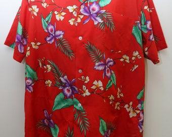 "80's Vintage ""AIKANE HAWAII"" Short-Sleeve Hawaiian Patterned Shirt Sz: LARGE (Men's Exclusive)"