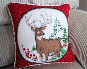 Winter Deer Stag Pillow Decorative Pillow