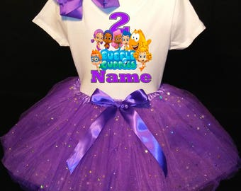Bubble Guppies***With NAME*** 2nd Second 2 Birthday  Purple Tutu Dress Fast Shipping party Shirt Personalized