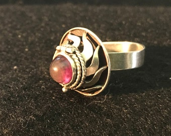 Vintage Taxco Sterling Silver and Amethyst Poison Ring Marked Eagle 3