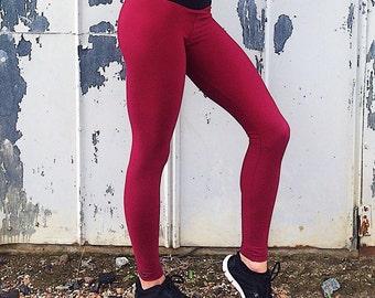 Maroon Workout Leggings - Women's Workout Leggings - Yoga Pants - Dark Red Leggings - Spandex Pants - Athletic Leggings - Gym Legging