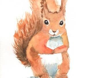 Squirrel  art print , nursery woodland animal , watercolor squirrel , squirrel painting , forest animal art print , digital print download