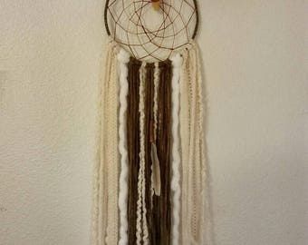 Reiki Dream Catcher, Neutral Colors, Orange Calcite, Raw Crystal, Holistic Gifts, Gift for Him, Chakra Healing Art, Native Artist, Hand Made