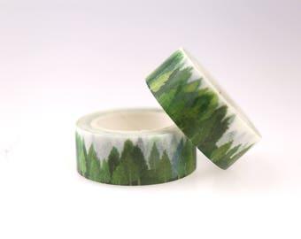 Forest Washi Tape/green trees Washi / Masking tape/ japanese washi tape/Planner Supplies/OT059