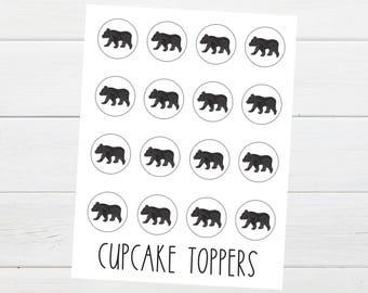 Bear Cub  Cupcake Toppers