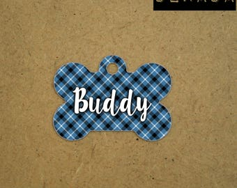 Blue Dog tag personalized - Pet Tag geometric - blue white black Pet id tag plaid - custom Id tag for pet