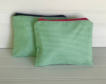 Green and White Striped Pouch | Handmade Zipper Pouch