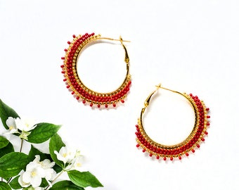 Woman Gift|for|Girlfriend Red Hoop Earrings Boho Jewelry Bohemian Earrings Delicate Earrings Golden Gypsy Style Red Earrings Trend Jewelry