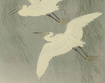"Japanese Art Print ""Herons in Reeds"" by Ohara Koson, woodblock print reproduction, fine art, asian art, cultural art, willow tree"