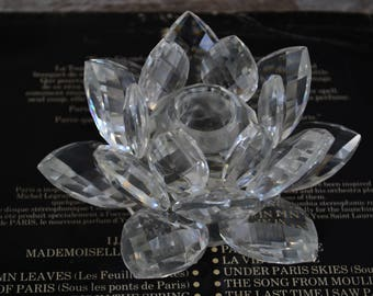 Swarovski Crystal.Swarovski Crystal Candleholder.Water Lily Candleholder.Classic decor.From80's.ΟΝΕ CRYSTAL has been DETACHED.No box.