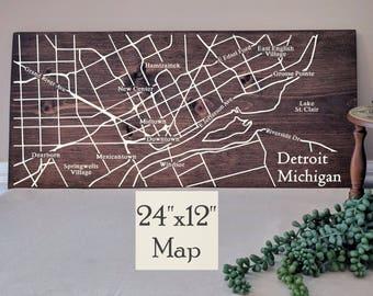 Detroit Map Wall Art, Large Wooden Map, Detroit Map Art, Detroit City Map, Wooden Street Map, Painted City Map, Address Map by Novel Maps