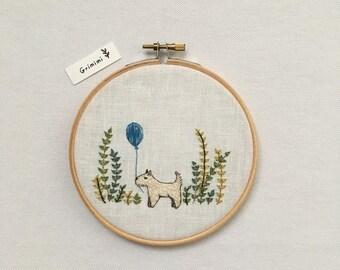 Embroidery small dog and ball