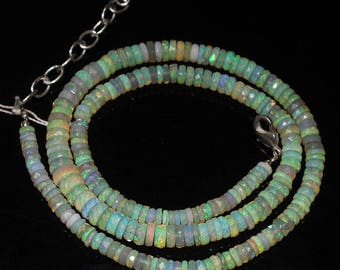 """Welo Fire Ethiopian Opal Faceted Loose Wheel Tyre Rondelle Gemstone Craft Beads Strand Necklace 17"""" 4mm 7mm 72.7cts #281"""