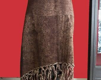 Vintage 70's reindeer skirt with wool fringes