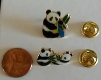 Panda Pins Set of Two Vintage Collectors Panda Bear Pins