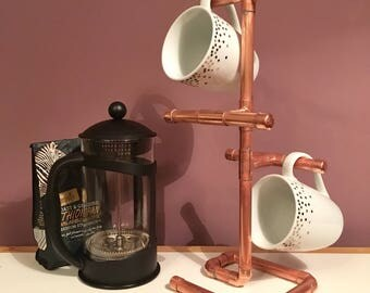 Copper mug tree, mug rack, cup holder, industrial look kitchen, rustic kitchen