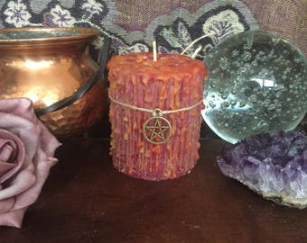 Witch Candle Energy and willpower Dragon Treasures ritual Candle Witch Magic Wiccan Pagan Occult Candle Magic