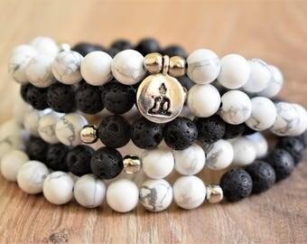 lava mala howlite mala japa mala bead mantra beads black mala beads white mala bead necklace 108 mala beads buddha mala mens mala necklace