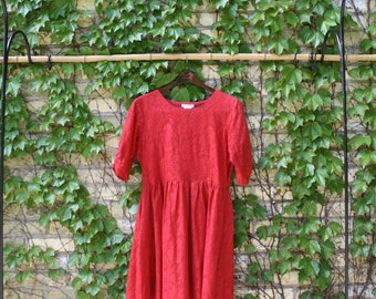 Red Floral Lace A-Line Dress