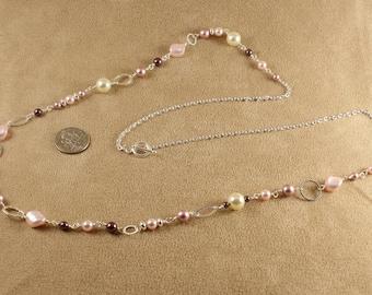 Pink Swarowski Chain Necklace