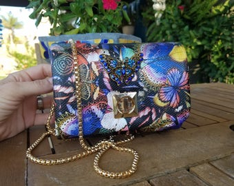 Colorful butterfly purse Antique style broche.  Vintage style butterfly purse. Unique one-of-a-kind butterfly purse. Crossbody purses