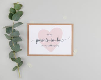 To My Parents In Law On My Wedding Day Card - Parents In Law Wedding Day Card - To My In Laws Card - Future In Laws Card - In Laws Card