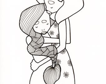 Mother And Daughter Illustration Coloring Page