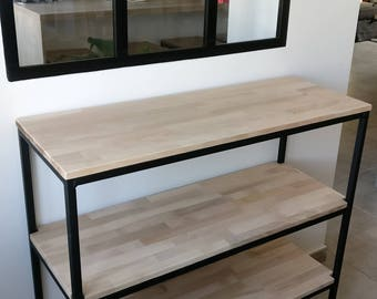 Industrial oak and steel kitchen serving/shelf/storage