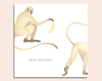 Happy Birthday Monkey With Banana Card