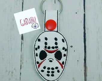Hockey Mask Key Fob Snap Tab Embroidery Design 4X4 size. Halloween.