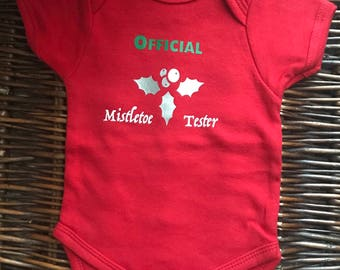 Christmas Baby Outfit; Christmas Bodysuit; Baby's First Christmas; Official Mistletoe Tester; Baby Girl; Baby Boy; Trendy Baby Clothes