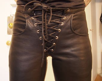 Vintage motorcycle lace up black leather pants