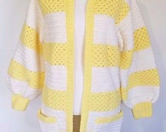 Vintage Chrochet Handmade Long Cardigan Sweater Jacket Yellow White Slouchy S M