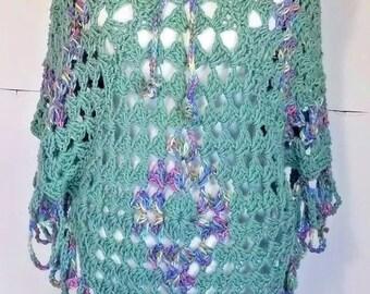 New Handmade Crochet Poncho Shawl Green Purple Blue One Size S M L XS
