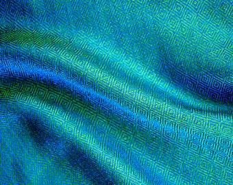 Sea blue diamond twill silk fabric, handwoven blue and green silk fabric, Viking clothing, Vendel clothing, historical costumes