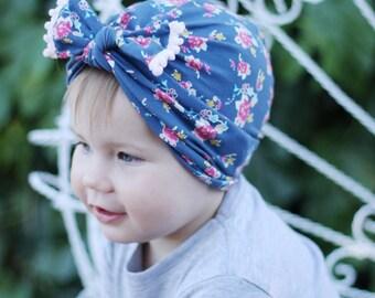 Blue Floral Turban