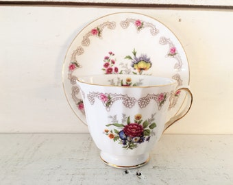 Duchess Bone China Teacup and Matching Saucer Made in England/Farmhouse Kitchen Collectible Tea Cup/Shabby Chic Teacup/Made in England