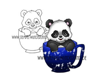 Digi stamps Panda bear in the Cup animal tea party of digital stamp + coloured printable