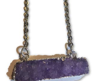 Large Raw Purple Bar Geode Necklace with Silver Chain