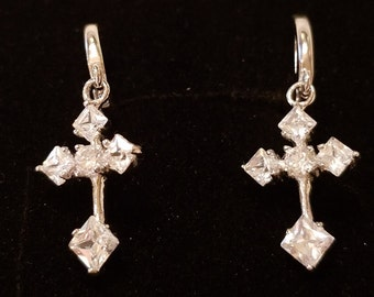Cross Earrings, White Topaz Gemstone Cross Dangle Earrings - Sterling Silver, 4 ct. - Pierced